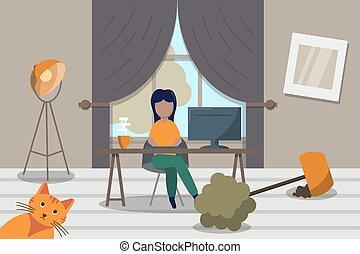home., mujer, mess., acción, freelancer, habitación, vida, en línea, computador portatil, vector, ilustración, trabajando