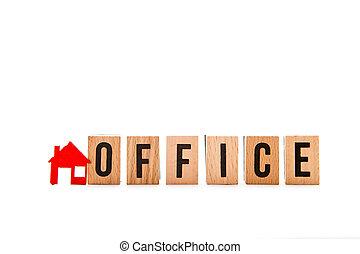 Home Office - bloque de cartas con rojo hogar / icono casa con antecedentes blancos