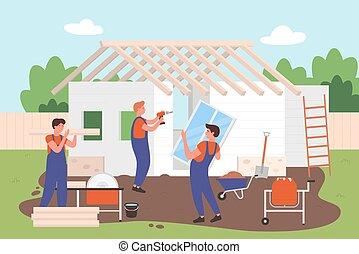 home., trabajadores, proceso, construcción, herramientas, arquitectónico, llavero, diseño, plano, edificio, carácter, vector, casa, materiales, utilizar, compañía, construir, illustration.