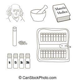 Homeopatía. Juego de iconos vectoriales.