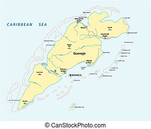 hondureño, isla, honduras, guanaja, mapa, caribe, vector