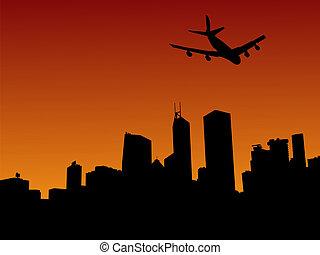 hong, avión, contorno, kong