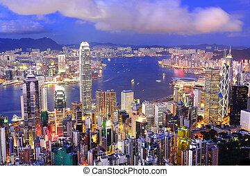 hong, distrito central, puerto, kong, contorno, noche, victoria, vista