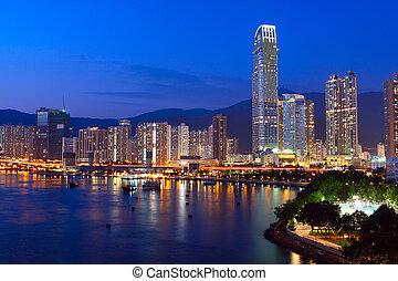 hongkong, azul, downtown., hora, crepúsculo