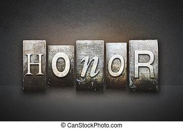 honor, texto impreso