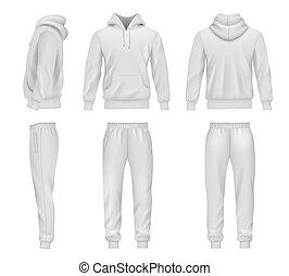 hoodie, sweatpants, tracksuit, plantillas, mockup, sportswear., decente, hombres, vector