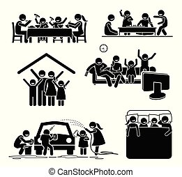 Hora de actividades familiares en casa.