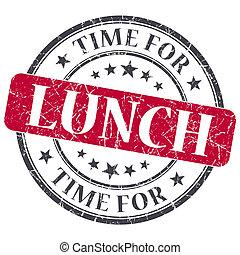 Hora del almuerzo, textura de color grunge, sello antiguo