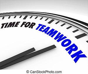 Hora del trabajo en equipo, reloj