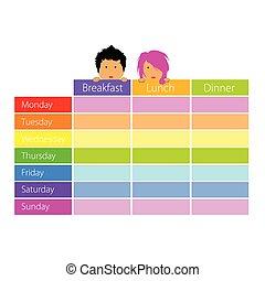 Horario con niños felices vector de color