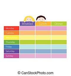 Horario con niños vector de color