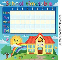 Horario escolar con edificio escolar