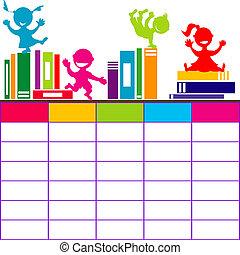 Horario escolar con libros y dibujos animados jugando