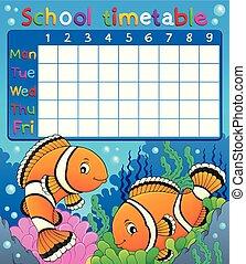 Horario escolar con tema de payasos