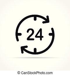 horas, cuatro, veinte, icono, concepto