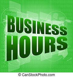 Horas de negocios en pantalla digital