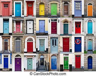 horizontal, 32, collage, puertas, frente