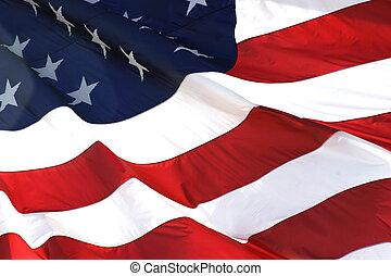 horizontal, bandera, norteamericano, vista