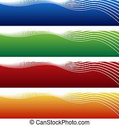 horizontal, bandera, onda