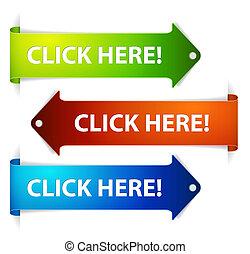 horizontal, colorido, clic, here!, -, conjunto, flechas, vector, largo