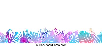 horizontal, fondo., rainforest, rosa, turquesa, decoración, sol., helecho, extranjero