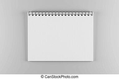 horizontal, papel cuaderno, blanco, espiral, render, vacío, ilustración, 3d