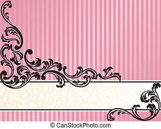 Horizontal romántico, bandera francesa retro en rosa