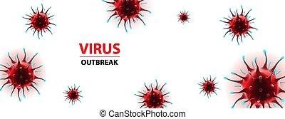 horizontal, social, epidemia, virus, bandera, medios, coronavirus, ilustración