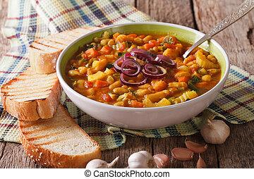 horizontal, toscano, arriba, sopa, grueso, cierre, ribollita, mesa., bread