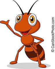 hormiga, lindo, ondulación, caricatura
