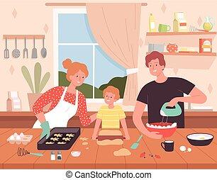 hornada, familia , plano de fondo, preparando, chef, kitchen., feliz, elaboración, productos, alimento, caricatura, vector, delicioso, caracteres