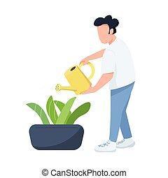 horticultor, gráfico, caricatura, ilustración, character., color, plantas, jardinero, cuidado, aislado, regar, vector, plano, macho, hombre, arriate, diseño telaraña, animación, faceless, lata