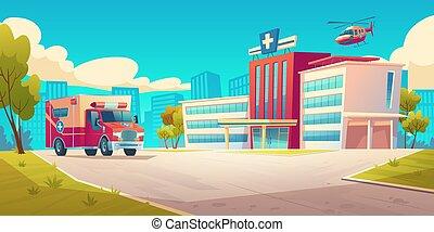 hospital, coche, edificio, cityscape, ambulancia