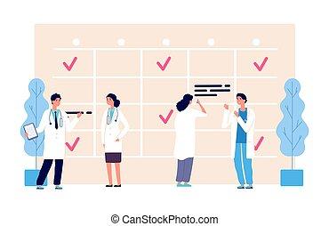 hospital, horario, schedule., caracteres, illustration., doctors, equipo médico, agenda, vector, clínica, trabajo, personal