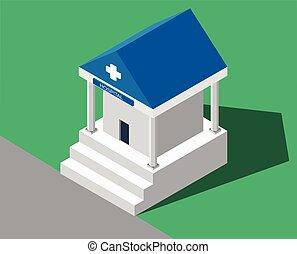 Hospital médico de construcción.