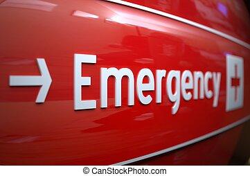 hospital., señal, emergencia