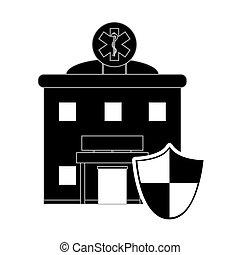 Hospital y icono de escudos
