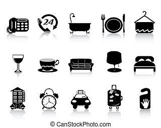 hotel, negro, iconos