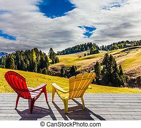 hotel, sillas, terraza, dos, salón