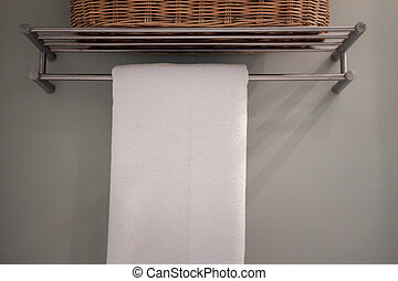 hotel, uso, toalla, percha, preparado, blanco