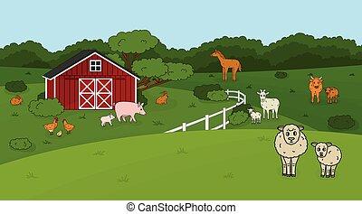 house., liebre, sheep, vaquita, carnero, lindo, farm., caballo, campos, vaca, gallo, campo, pollo, cerdo, toro, bebé, granero, contorno, vector, goat, bosque, caricatura, conjunto, rojo, garabato, animales, madre, conejo, mascota
