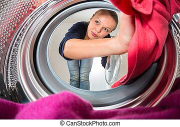 housework:, mujer, lavadero, joven