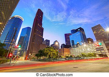 Houston en el horizonte del centro en Sunset Texas