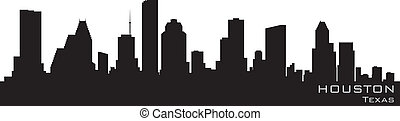 Houston, línea aérea de Texas. Detallado vector silueta