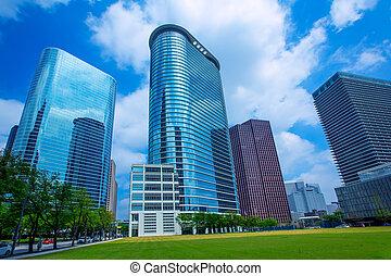 Houston, rascacielos del centro, discético espejo azul
