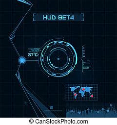 hud, gui, usuario, interface., set., futurista