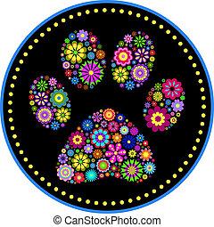 Huella de pata de animal floral