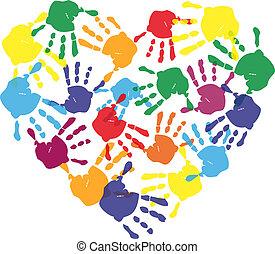 Huellas de mano de niño coloridas en forma de corazón
