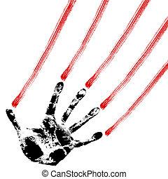 Huellas de mano en blanco, vector.