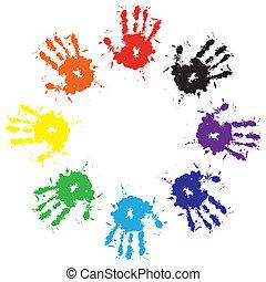 Huellas de manos de tinta colorida